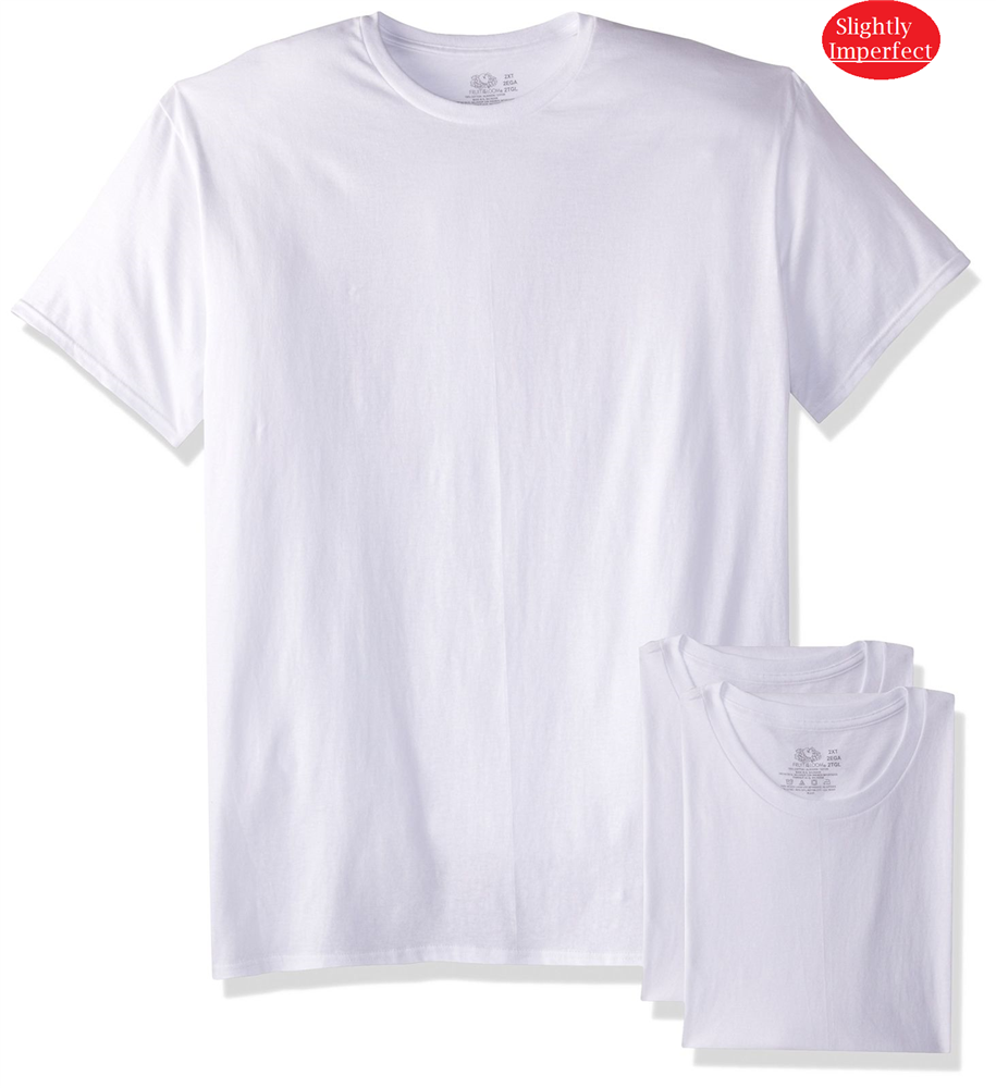 Fruit of The Loom Men's White Crew Neck  T-Shirts - 3 Pack