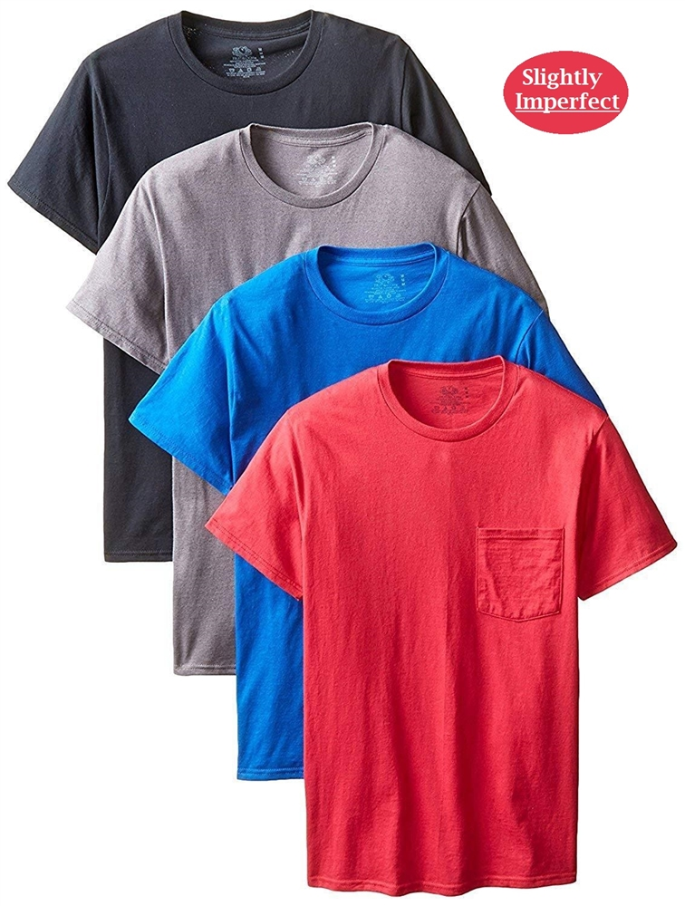Fruit of The Loom Men's Pocket T-Shirts - 4 Pack
