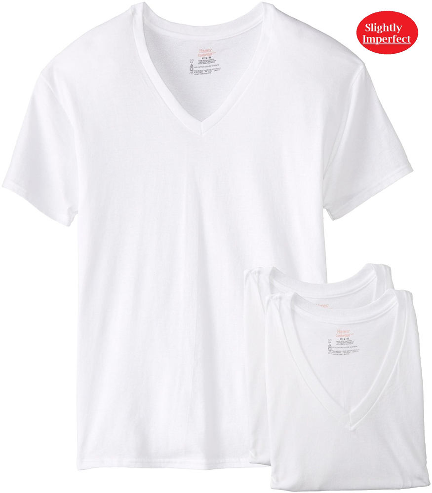 Hanes Men's White 3 Pack V-Neck T-Shirts -