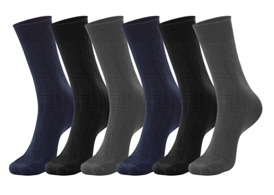 Men's Asst Colors Lycra Ribbed Dress Socks