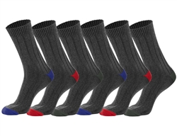 Men's Casual Black Ribbed Socks With Colored Heel & Toe