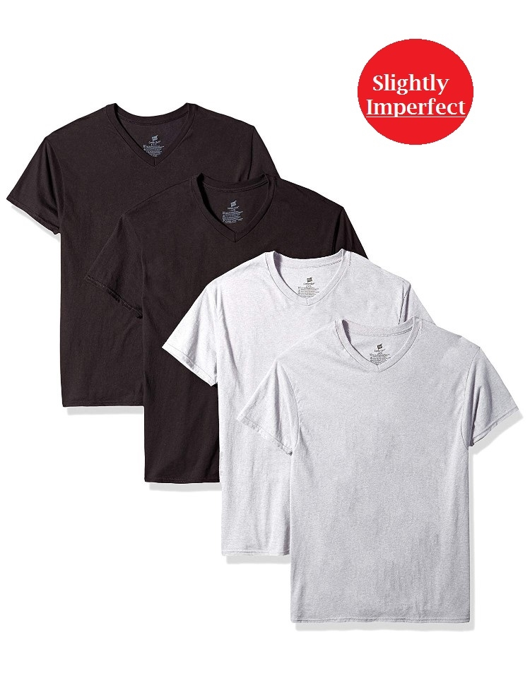 Hanes Men's Colored V-Neck T-Shirts - 4 Pack