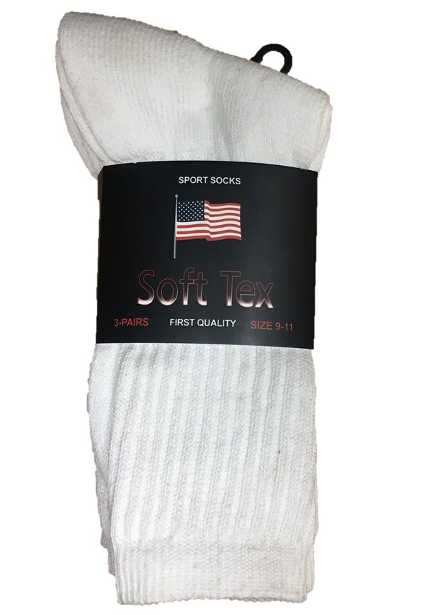 Men's White Crew Socks 3 Air Per Band Size 10-13