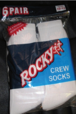 Rocky Men's White Crew Socks sz. 10-13