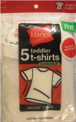 Hanes Boy,s White Toddler T-Shirts - 3 Pack