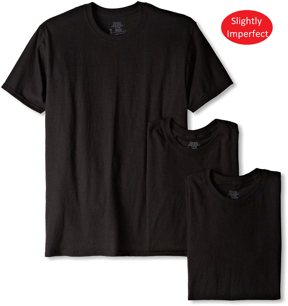 Hanes Men's Black 3pk Crew Neck T-shirts-24 pks