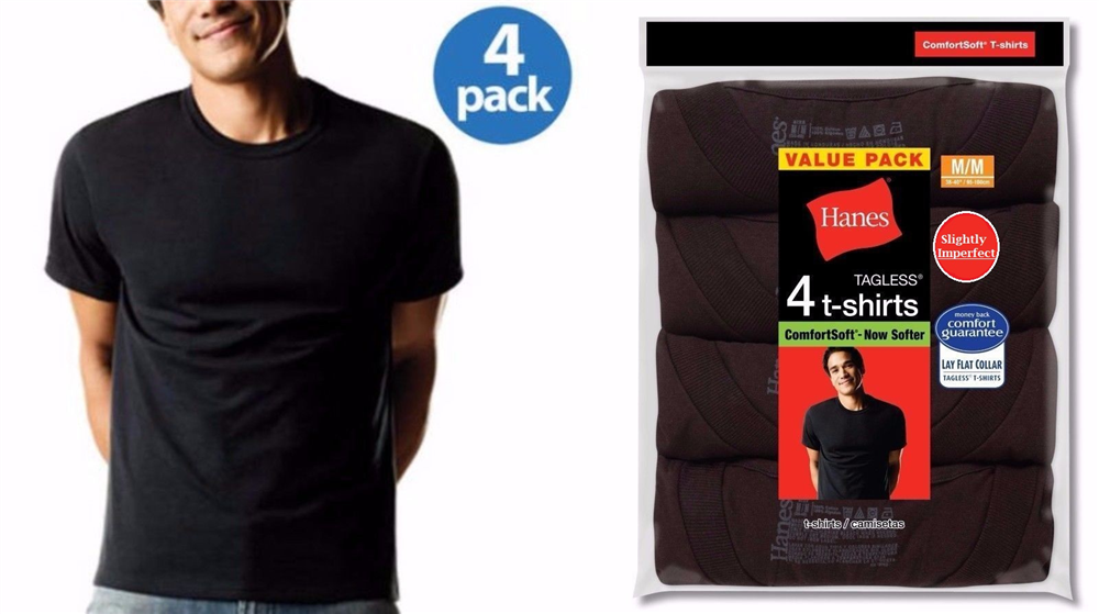Hanes Men's Colored Crew Neck T-Shirts - 4 Pack